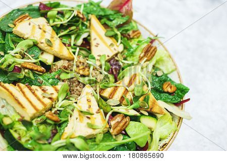 Delicious vegetarian salad with tofu, kinoa and vegetables. A plate of tasty and healthy food - vitamins and health. Soft focus.