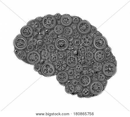Human brain built out of gears (concept) isolated on white background