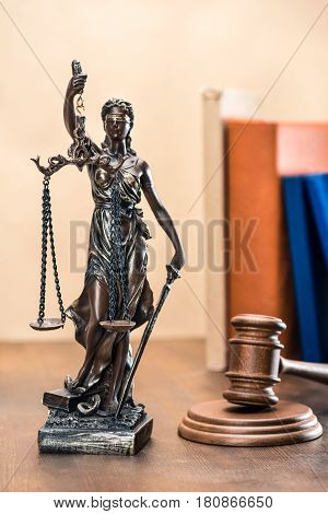 Close-up View Of Statue Of Lady Justice And Mallet, Law Concept