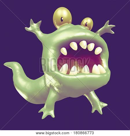 Cartoon green monster tadpole. 3D illustration. Funny cute emoticon green character.
