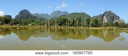 Rural scene near the village of Vang Vien on Laos