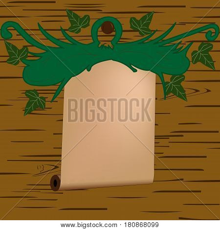 Abstract sheaf vector sign; Vintage with leafs ; wood background;
