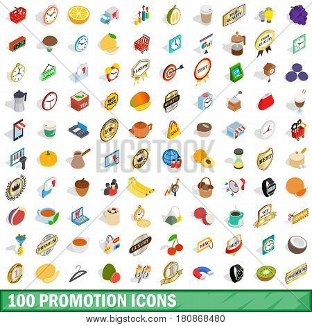 100 promotion icons set in isometric 3d style for any design vector illustration