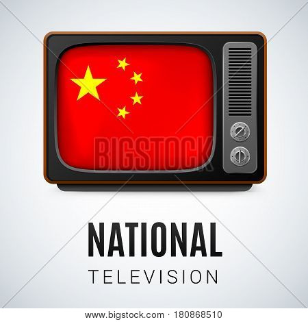 Vintage TV and Flag of China as Symbol National Television. Button with Chinese flag