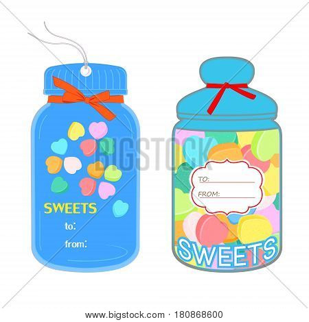 Tags in the shape of jar with candy hearts isolated on white background