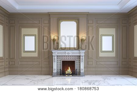 A classic interior with wood paneling by art frames and fireplace. 3d rendering.