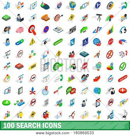 100 search icons set in isometric 3d style for any design vector illustration
