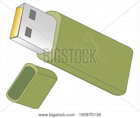 Usb flash memory isolated on the white background