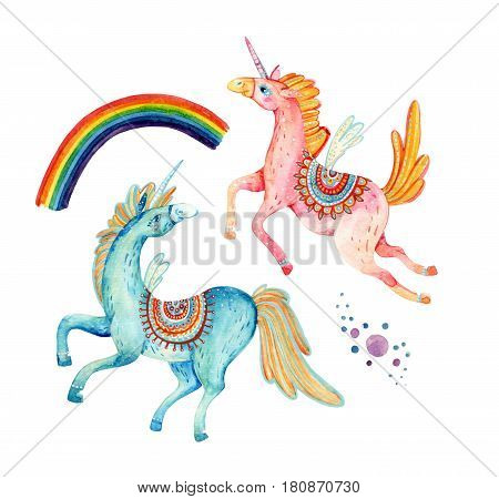 Watercolor pair of flying unicorns isolated on white background. Lovely unicorn in cartoon style. Hand painted fairy tale elements for kids children design