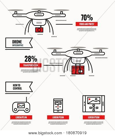 Drone infographic. media shipping surveillance control. template poster icons. flat thin line design elements. vector illustration