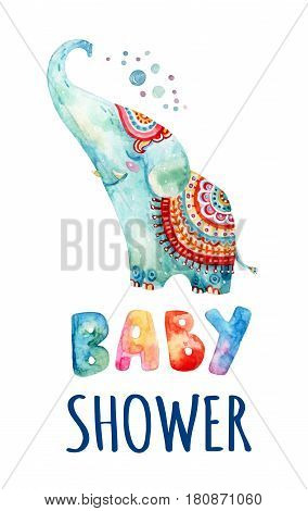 Watercolor lovely indian elephant on white background. Cute cartoon animal with bubbles dots hearts. Baby shower - concept for childish kids design. Hand painted boyish illustration