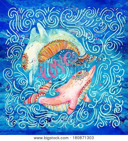 Watercolor pair of lovely dolphins surrounded by doodle wave dots dash on night background. Love concept in cartoon style. Hand painted cute animal illustration
