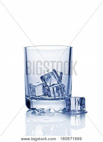 Empty Glass For Scotch Whiskey With Ice Cube