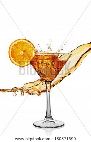 Splash In Glass Of Transparent Alcoholic Cocktail Drink With Slice Orange And Ice