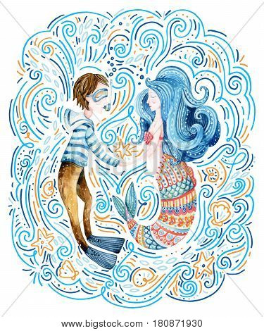 Watercolor sailor and mermaid in love surrounded by doodle waves sea star seashell. Cute marine characters. Loving couple. Hand painted sea cartoon illustration