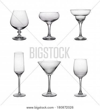 Set Of Different Shapes Empty Glasses