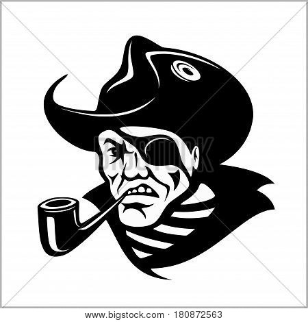 Angry pirate with pipe portrait. Vector pirate illustration. Isolated on white.