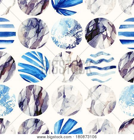 Abstract geometric background. Watercolor circle seamless pattern. Circles with palm leaves waves stripes and water color marble grained grunge paper textures. Hand painted summer illustration