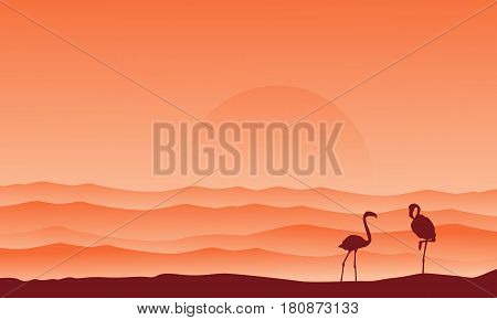 Desert background with flamingo silhouette scenery illustration
