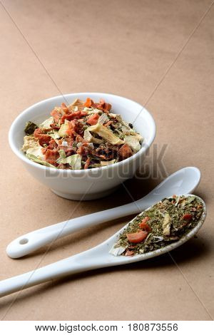 spicy fragrant mixture with mushrooms vegetables and herbs
