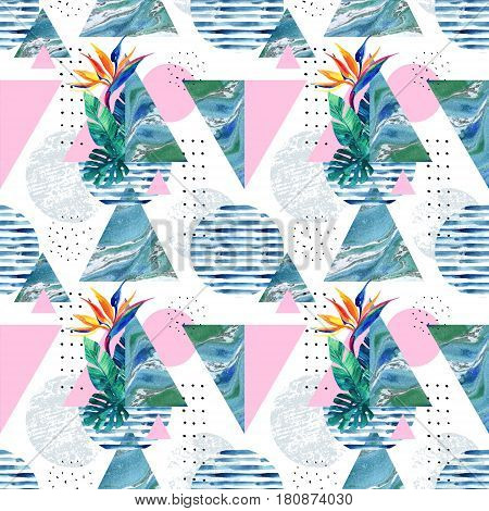 Abstract summer geometric background with exotic flower and leaves. Geometric shapes with watercolor tropical flowers palm leaf marble textures doodles seamless pattern. Hand painted illustration