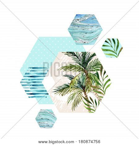 Abstract geometric hexagon shapes with palm tree leaf marble grunge textures watercolor stripes. Geometrical background in retro vintage 80s or 90s. Hand painted summer beach illustration