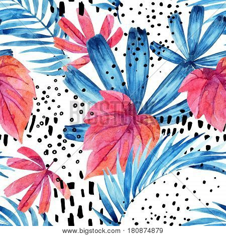Watercolor tropical leaves seamless pattern. Water color floral elements with ink doodle textures background. Hand painted colorful natural illustration for modern design