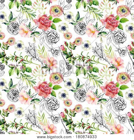 Watercolor and ink doodle flowers leaves weeds seamless pattern. Hand painted drawn floral background with roses anemones ranunculus dog rose branch meadow herbs