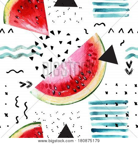 Abstract watercolor summer background: watermelon triangle brush stroke doodle paper texture. Water color painting and ink scribble seamless pattern. Hand painted illustration in memphis style