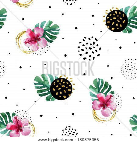 Watercolor exotic flowers and abstract texture circles background. Water color tropical floral painting and ink scribble golden glitter seamless pattern. Hand painted illustration in memphis style