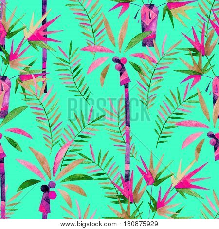 Abstract watercolor palm trees and leaves seamless pattern. Coconut and fan palm trees background. Hand painted natural illustration