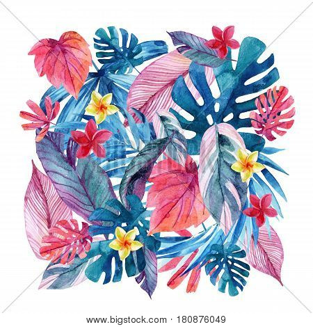 Watercolor exotic leaves and flowers background. Water color tropical floral painting. Hand painted vivid natural illustration for modern design
