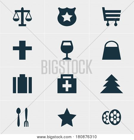 Vector Illustration Of 12 Check-In Icons. Editable Pack Of Cross, Film, Drugstore And Other Elements.