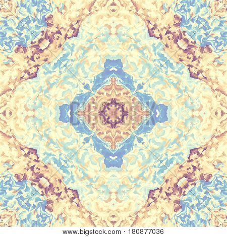Abstract square background. Symmetric decorative ornament pattern in a retro style and pastel colors
