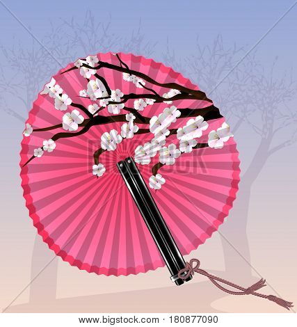 pink background with blossoming tree and the rounde pink fan cherry flowers