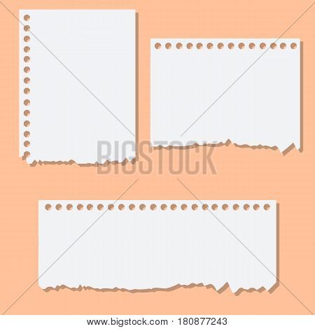 Blank white torn reminder paper. Design element ripped sheets paper. Vector illustration set