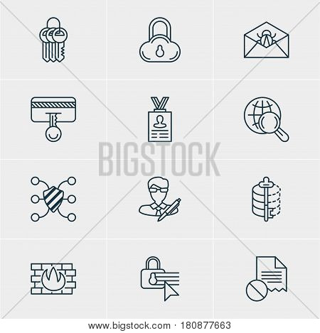 Vector Illustration Of 12 Protection Icons. Editable Pack Of Safeguard, Confidentiality Options, Safe Storage And Other Elements.