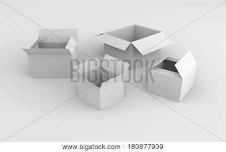 Many white 3d boxes. Over white background. 3d rendering.