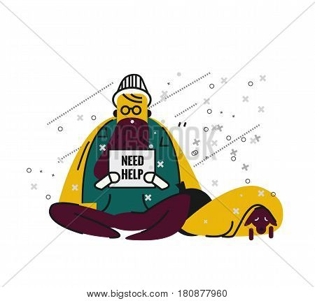 Homeless man with a dog on street. unemployment and homeless issues. flat thin line character. vector illustration