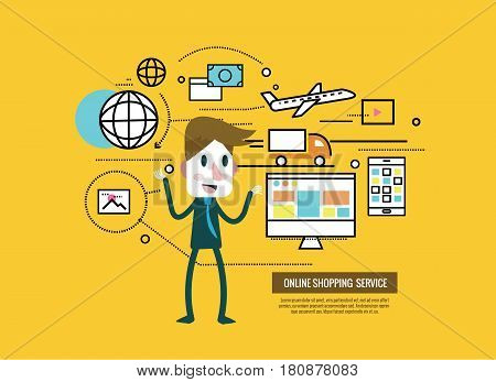 businessman with online shopping and cargo icons. E-commerce order and delivery. thin line flat design elements. vector illustration