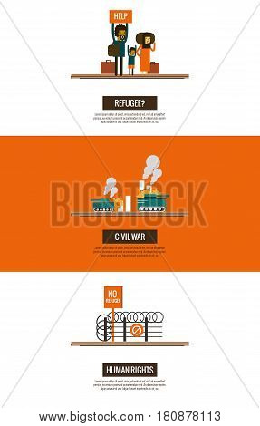 Refugees of the Syrian Civil War infographics. website banner poster template. thin line flat design. vector illustration