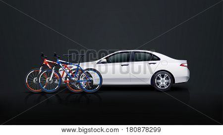 illustration of couple bicycles and white car on dark background