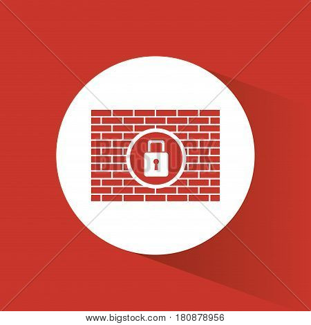 cyber security padlock firewall protection vector illustration eps 10