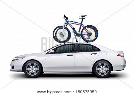 illustration of couple bicycles on white car with shadow on white background