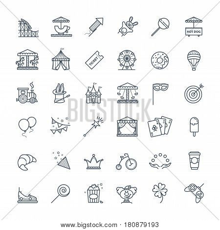 Outline set - theme amusement park icons for your design