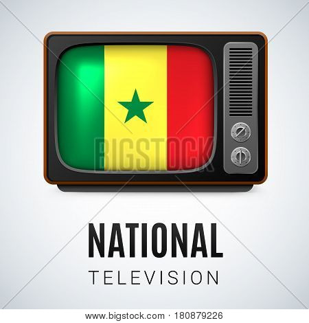 Vintage TV and Flag of Senegal as Symbol National Television. Button with Senegalese flag