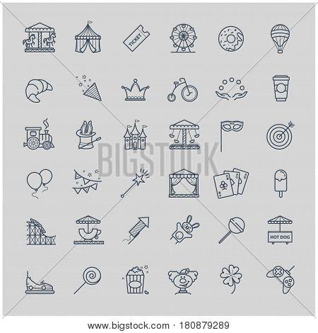 Thin line set - amusement park icons for your design