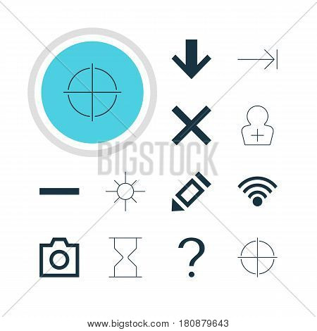 Vector Illustration Of 12 User Icons. Editable Pack Of Downward, Snapshot, Sunshine And Other Elements.