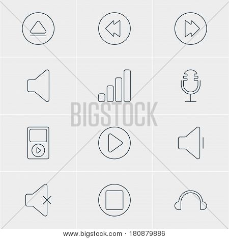 Vector Illustration Of 12 Music Icons. Editable Pack Of Start, Mp3, Pause And Other Elements.