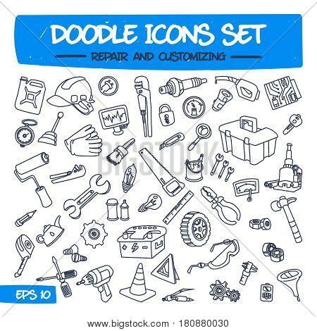 Doodle Icons Set - Repair and Customizing. Sketch Sign Illustration on Paper of Hand Drawn Tools. Hand Drawing Line Icons for Web, App, Mobile, Business, Finance, Technology, Education. .